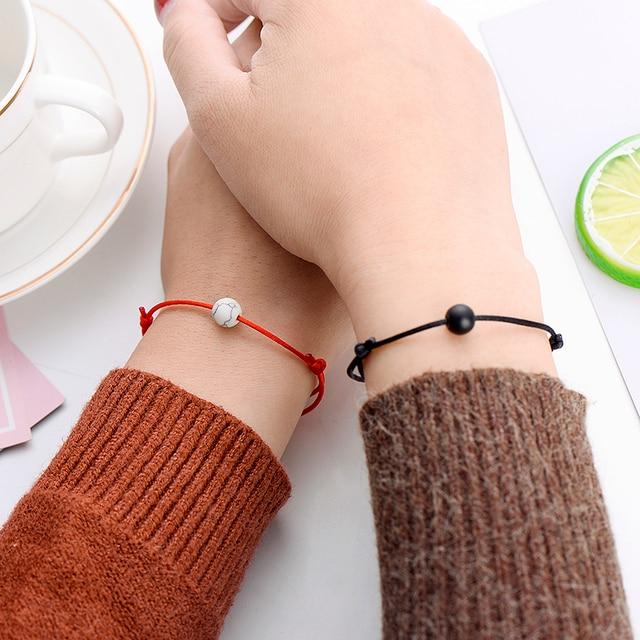 Pipitree 2pcs/set Matte Lava Stone Natural Stone Bead Bracelet Red String Braiding Couple Bracelets for Men Women Wish Jewelry