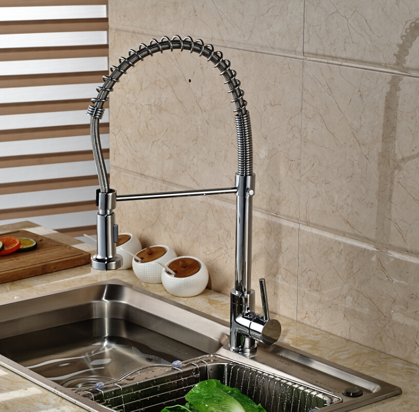Spring Kitchen Faucet Chrome Brass Vessel Sink Mixer Tap Swivel Spout Deck Mounted newly chrome brass water kitchen faucet swivel spout pull out vessel sink single handle deck mounted mixer tap mf 302