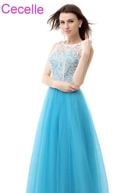 Blue White Long Bridesmaid Dresses 2019 Sleeveless Lace Top Tulle Skirt A-line  Country Western 5b2a158de3c2
