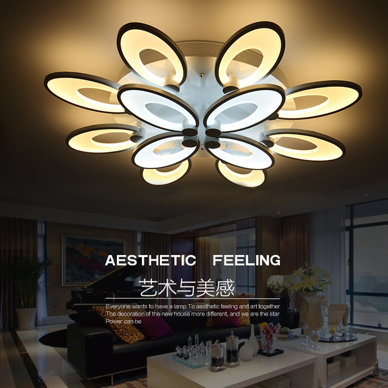 2017 Modern living room bedroom led ceiling lights home indoor decoration lighting light fixture modern acrylic led ceiling lamp modern remote control led lamp ceiling light fixture living room bedroom christmas decoration for home lighting white metal 220v