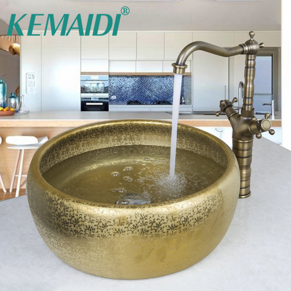 KEMAIDI Luxury Bathroom Round Paint Antique Golden Bowl Waterfall Basin Shampoo Sink Faucet Mixer Single Handle Deck MountedKEMAIDI Luxury Bathroom Round Paint Antique Golden Bowl Waterfall Basin Shampoo Sink Faucet Mixer Single Handle Deck Mounted