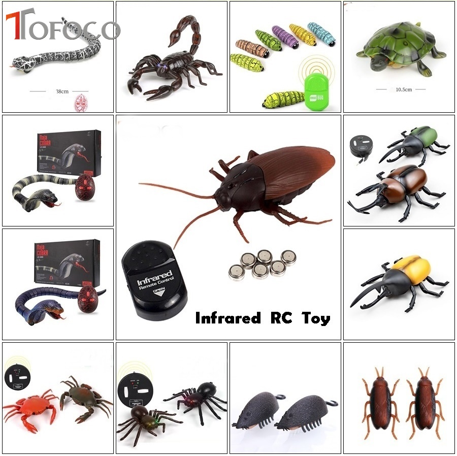 TOFOCO Simulation Infrared Remote Control Cockroache/Snake/Spider/Mouse Fake RC Toy Animal Shock Jokes Prank Scary Creepy Insect