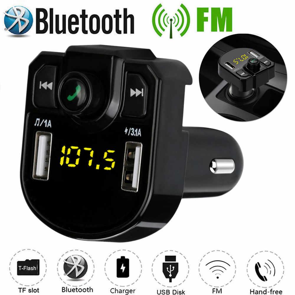 Rovtop 車ハンズフリーワイヤレス Bluetooth キット FM トランスミッタ液晶車 MP3 プレーヤーの Usb 充電器 FM 変調器車のアクセサリー