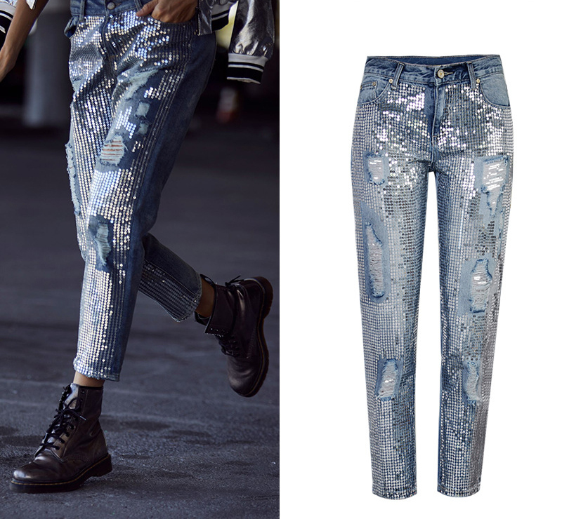 2018 Europe and the United States women`s fashion waist loose straight jeans denim pants ultra-popular metal color embroidery beads washed old holes (2)
