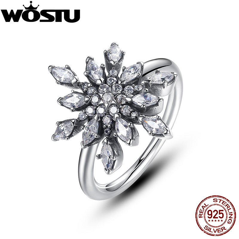 2017 New Brand Fashion 925 Sterling Silver Crystalized Snowflake Wedding Rings For Women Original Fine Jewelry Gift XCH7159