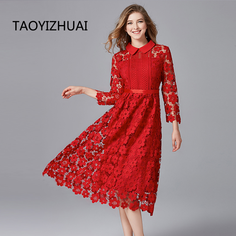 TAOYIZHUAI New Arrival Autumn High Street Two Colors Plus Size Floral Hollow Out Turn Down 100
