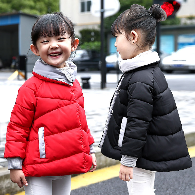 The New 2016 Han Edition Children's Jackets Girls Winter Children Quilted Jacket Lapel Cotton-padded Clothes Children's Wear  free shipping winter new children s wear patch splicing shoulder button boy cotton padded clothes child quilted jacket