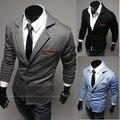 Primavera 2015 europen nueva marca moda lujo hombre mens casual caballero buisuness Blazers delgado Knit suit negro gris azul
