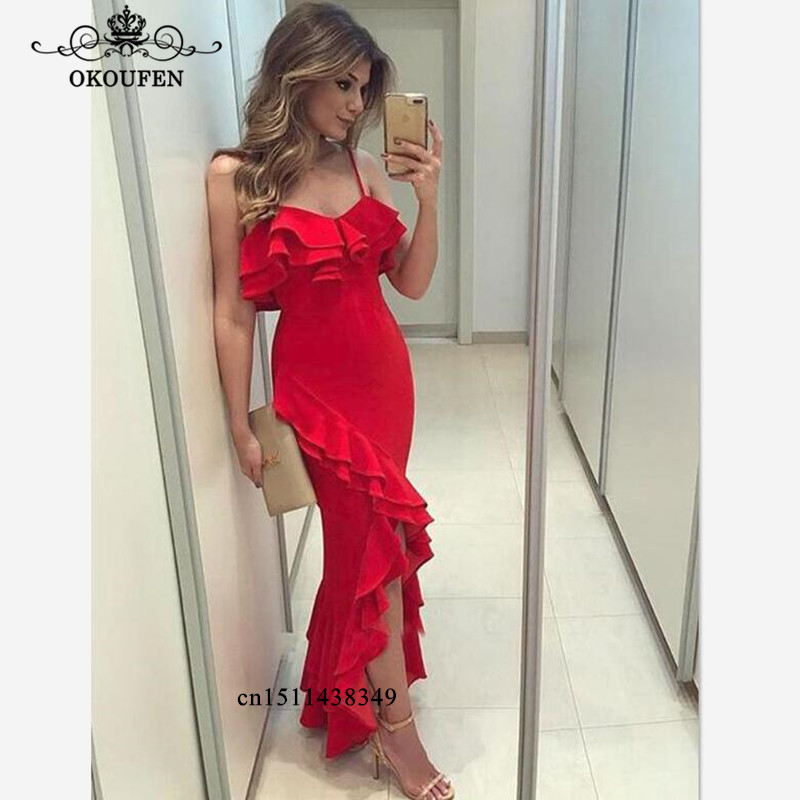 2019 Red <font><b>Prom</b></font> <font><b>Dresses</b></font> <font><b>Sexy</b></font> Side Split Spaghetti Strap Ankle Length Tiered Ruffles Mermaid Evening <font><b>Dress</b></font> Party For Women image