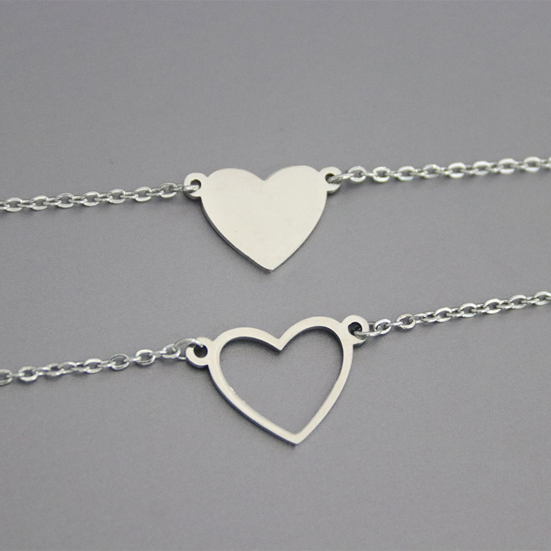 1pc Solid Hollow Heart Stainless Steel Necklace Love Hearts Pendant Women Girls Chokers Statement Necklaces Valentine's Day Gift