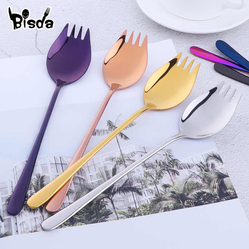 7 Colors Spoon Fork Long Handle Salad Spoon Reusable Stainless Steel Spork Gold Dessert Spoons Outdoor Picnic Dinnerware