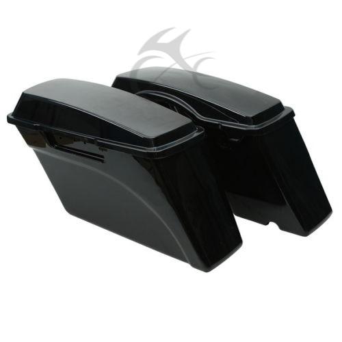 Left Right Vivid Black ABS Hard Saddle Bags Harley Touring - Мотоцикл аксессуарлары мен бөлшектер - фото 4