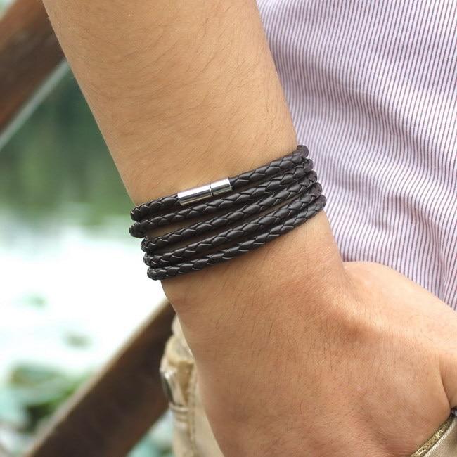 XQNI, брендовый, черный, Ретро стиль, обёрточная бумага, Длинный кожаный браслет, мужские браслеты, модные, скрученные, звенья цепи, мужской браслет с 5 кругами - Окраска металла: SLPG42