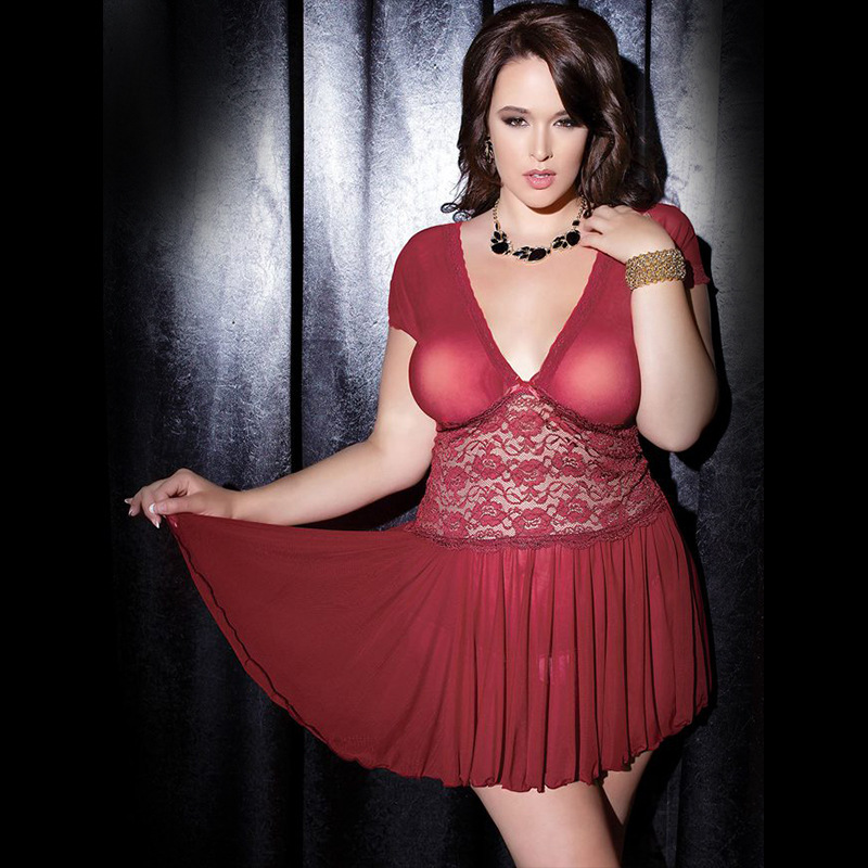 Hot Ensemble Sexy Robe Large Size M XL XXXL 5XL Nightgown Sexy Lingerie Women Lace Perspective