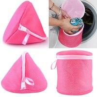 Ev ve Bahçe'ten Çamaşır Sepetleri'de Iç çamaşırı yardım sütyen çamaşır örgü yıkama sepeti Net çamaşır depolama fermuarlı çanta 8BSF