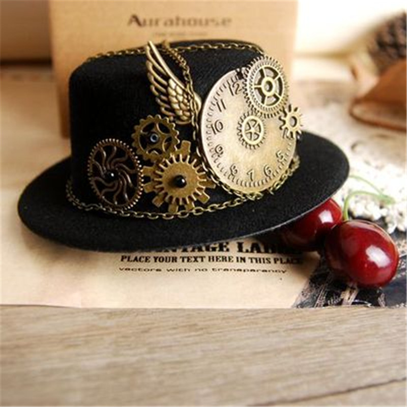 Takerlama Gothic Geer Wing Chain Girl Head Wear Retro Women Hairclip Steampunk Mini Top Hat Lolita