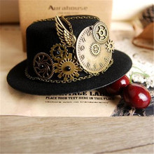 Takerlama Gothic Geer Wing Chain Girl Head Wear Retro Women Hairclip Steampunk Mini Top Hat Lolita Cosplay Fedoras Hat Party Hat