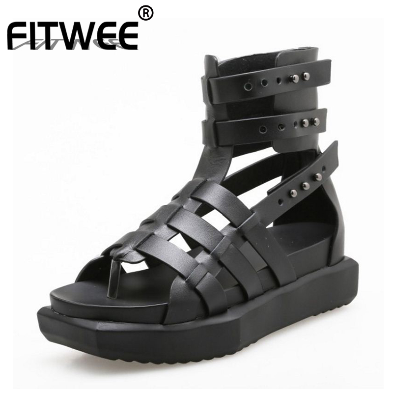FITWEE Women Sandal Gladiator Real Genuine Leather Wedges Rivets Summer Shoes Vacation Beach Women Chic Footwear