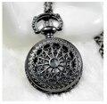Tamaño pequeño Negro Tela de Araña de Los Hombres Mujeres Reloj de Bolsillo Collar Para Regalo De Navidad