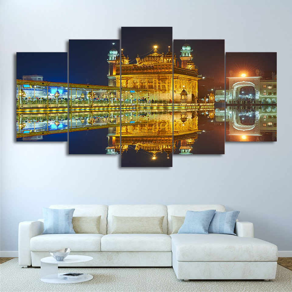 5 piece HD Print Amritsar Night View Sikh temple Canvas Painting Wall Art Posters and Prints Framed Modular Canvas
