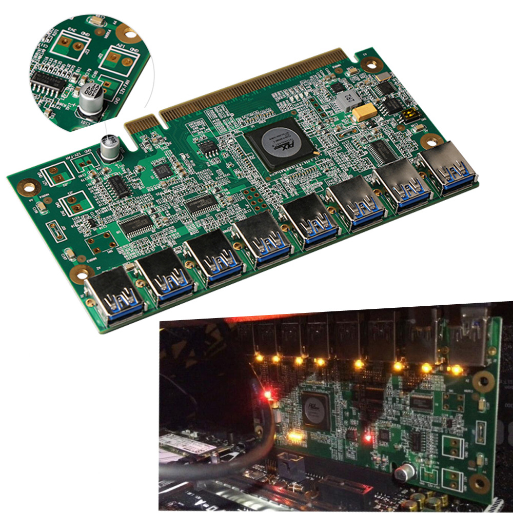 все цены на Motherboard PCI Express 1 to 8 Mining Riser Card PCI-E x16 Data Graphics SATA to 8Pin Adapter Card for BTC Miner Machine Board