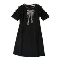 2017 HIGH Quality Summer Runway Dress Women S O Neck Short Sleeve Luxury Beading Ruffles Party