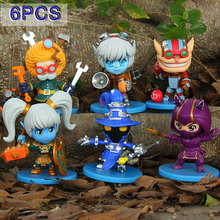 Hot Action 6PCS  Anime LOL Game  Veigar Tristana Kennen  PVC  Collection Hobby Movable Model Doll Best Gift Cosplay Toy