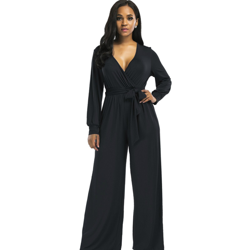 Fashion long jumpsuits 2017 autumn winter black bule wide leg sashes flare trousers Casual Party Elegant women rompers overalls
