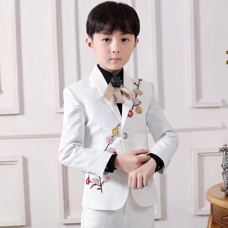 White Notched Lapel Suits One Button Wedding Suits For Boy  Children Party Tuxedos boys Smoking blazer (jacket+pant)White Notched Lapel Suits One Button Wedding Suits For Boy  Children Party Tuxedos boys Smoking blazer (jacket+pant)