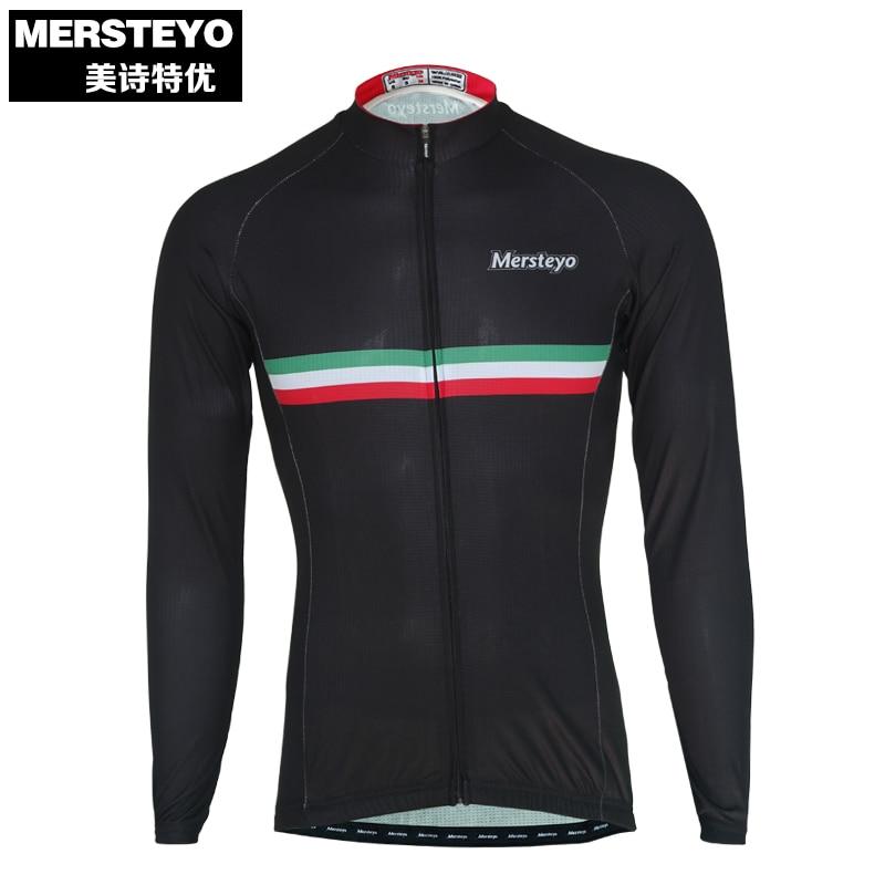 MERSTEYO Pro Uomini MTB Cycling Jersey Bike Manica Lunga Jersey  Abbigliamento Bicicletta Della Squadra Nero Sport Maschio Top 58dde1c784e