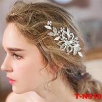 Hot Sale New Rhinestone Crystal Women Pearl Wedding Headdress Headband Piece Silver Plated Hair Sticks