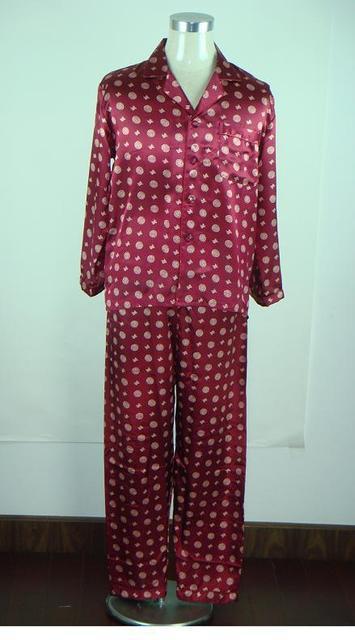 Alta Calidad Borgoña Hombre Pijamas de Seda Set Shirts + Pants 2 UNIDS Ropa de Dormir de Manga Larga DropShipping Tamaño S M L XL XXL A0159