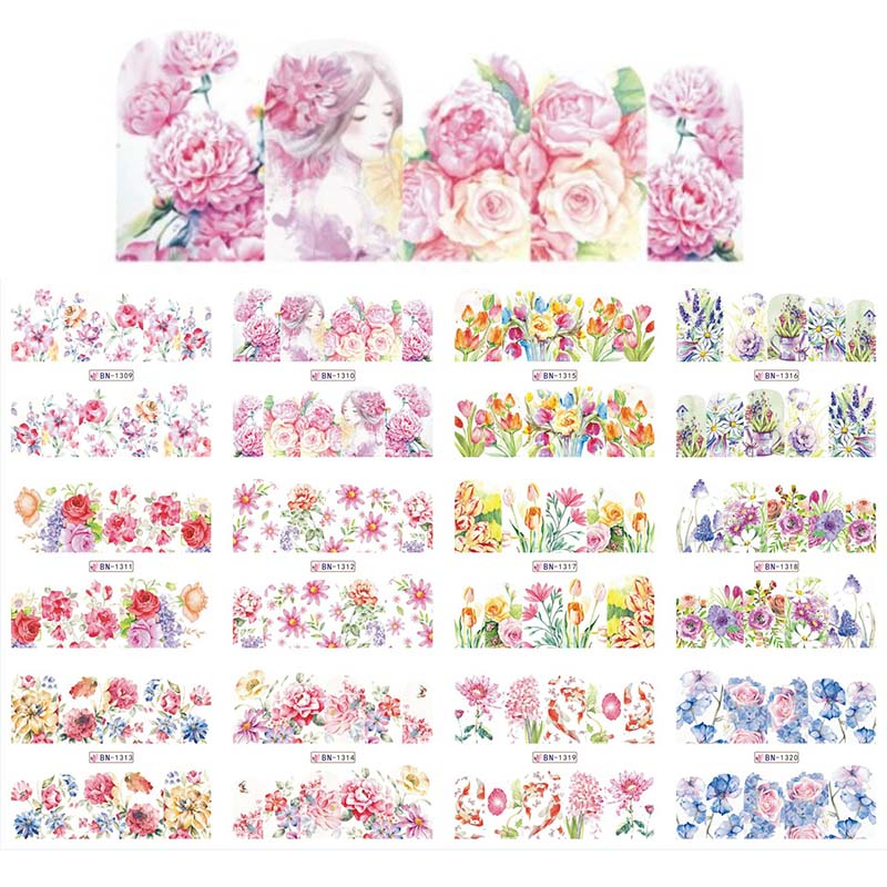 12 Designs Watercolor Blooming Flower Water Sticker Spring Florals Slider Full Wrap Decal Sliders Manicure Decoration BN1309-132