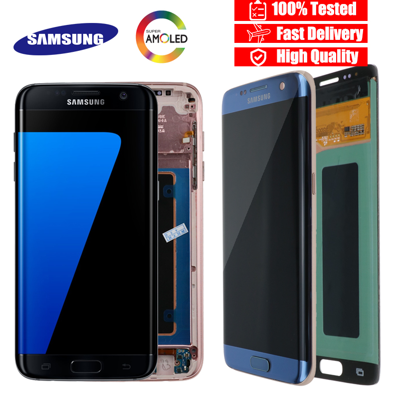 SAMSUNG Frame Digitizer-Assembly Touch-Screen G935F S7-Edge Burn-Shadow ORIGINAL  title=