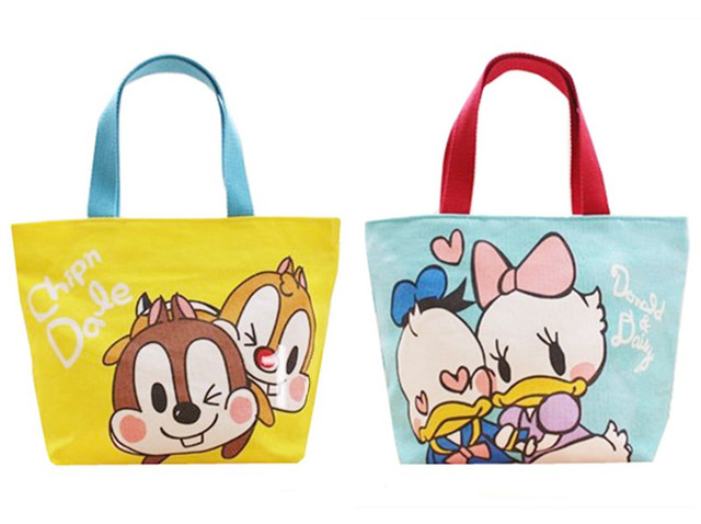 Cute Cartoon Chip And Dale Donald Duck Daisy Canvas Lunch Tote Bag For Kids School