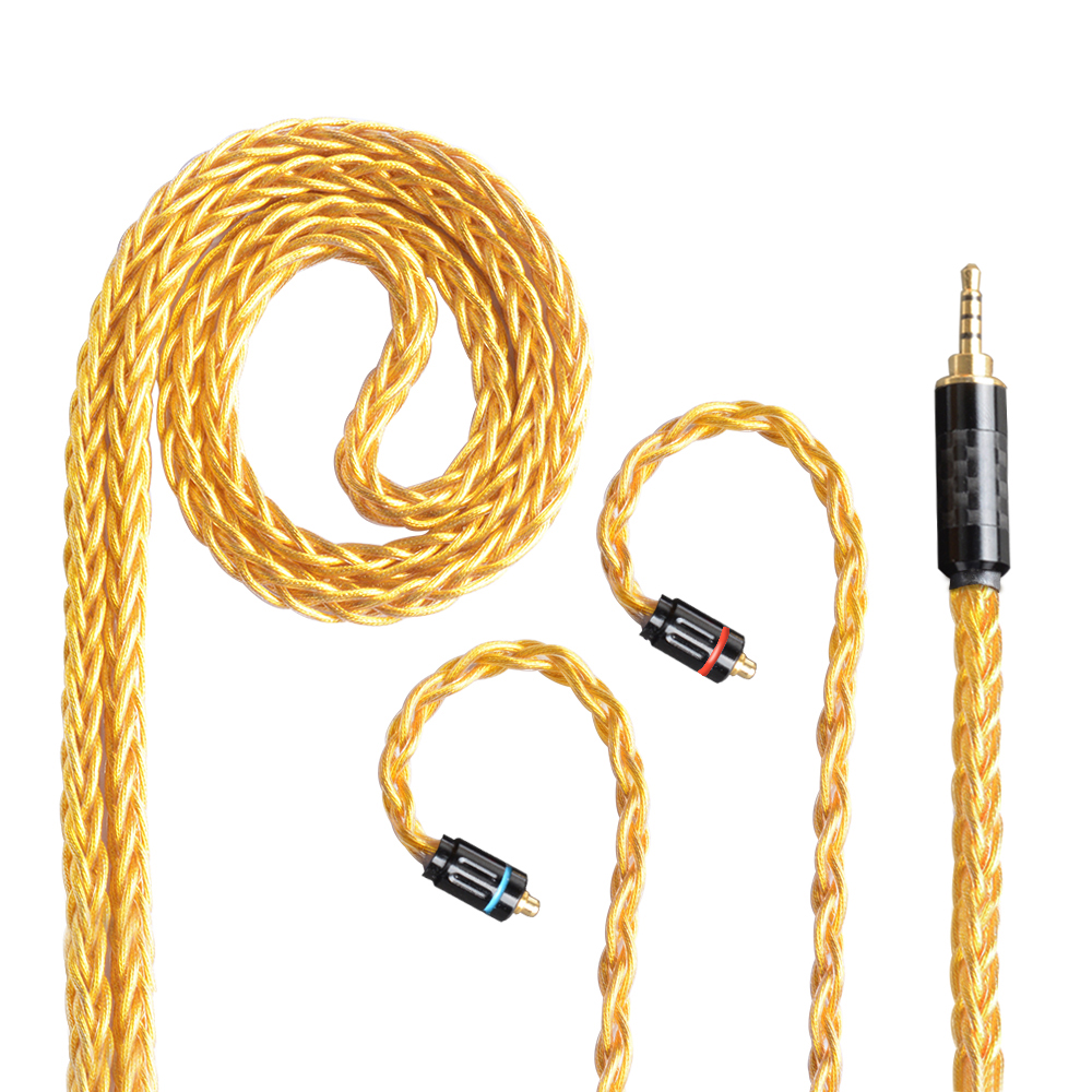 OKCSC MMCX Cable 8 Cores Single Crystal Copper Gold Plated Updated Cable 2Pin Connector 2.5/3.5/4.4mm Balanced Plug for SE215