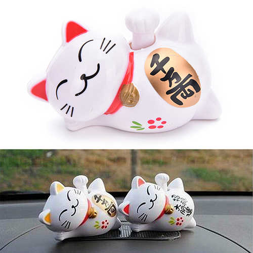 4 Polegada 1/3 Polegada Branco ABS Solar Powered Beckoning Afortunado Fortune Gato Maneki Neko Congratulando Restaurante Home Hotel Decor Craft