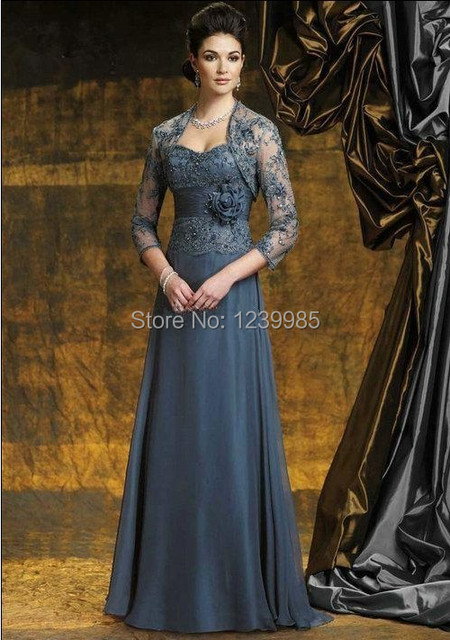 2017 Free Shipping Hot Elegant With A Jacket/Wrap Sleeveless Flower Natural Waist Long Mother Of The Bride Dresses Evening Dress