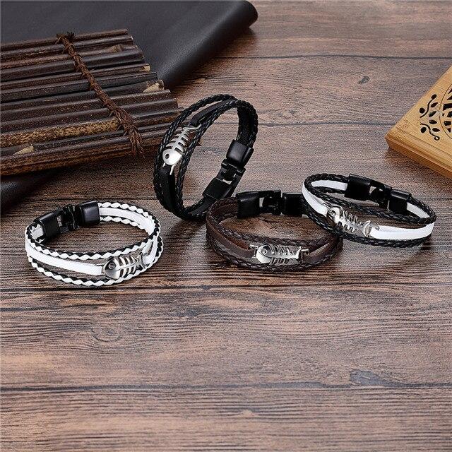 Модные ювелирные изделия браслет из сплава с рыбьей костью кожаный