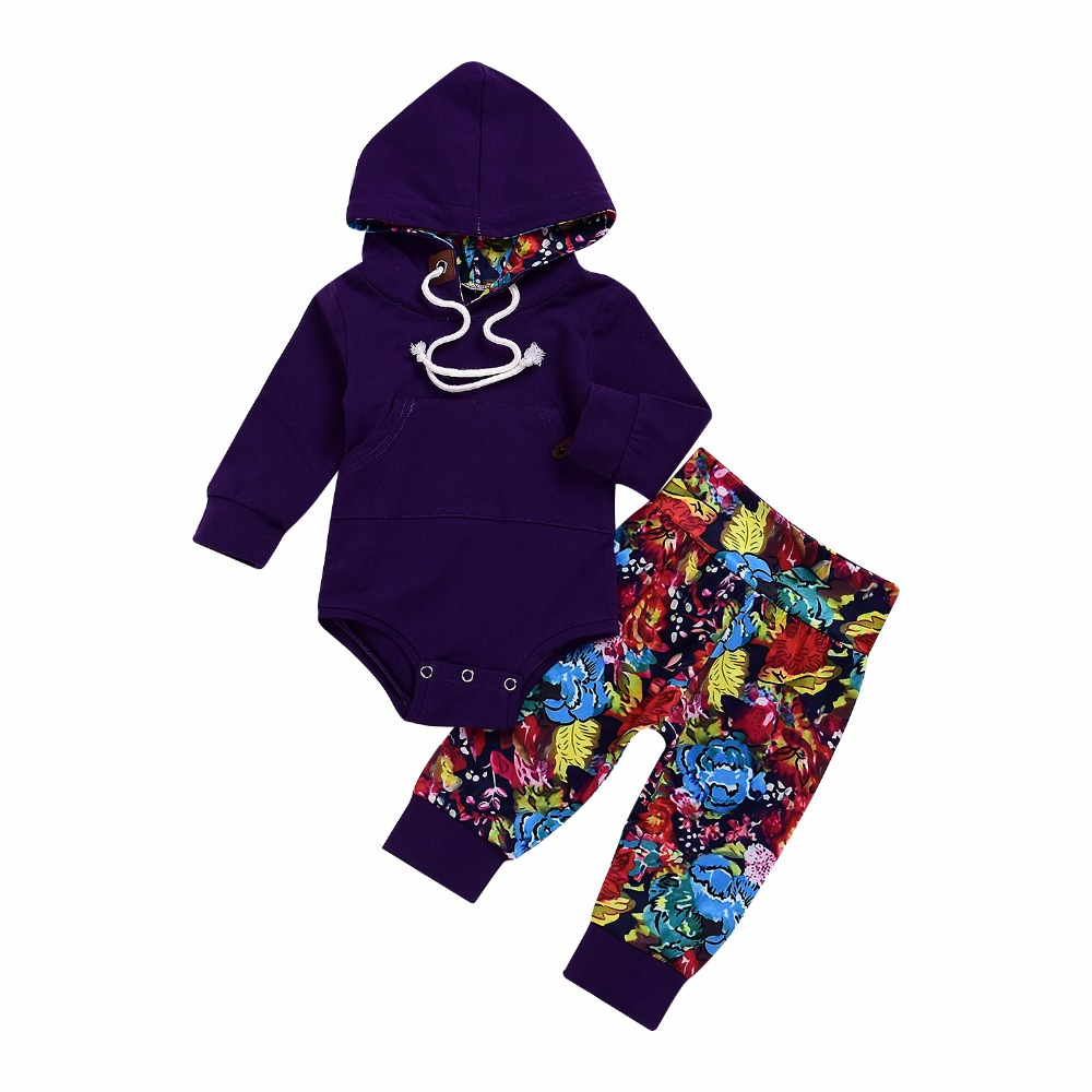 Hoodie Floral Long Pants Casual Hooded Tops Baby Outfits Set Autumn Winter Newborn Baby Boys Girls Clothes Set ship from USA