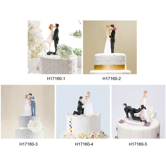 5 Shape Funny Wedding Cake Toppers Bride Groom Topper Romantic Party Decoration