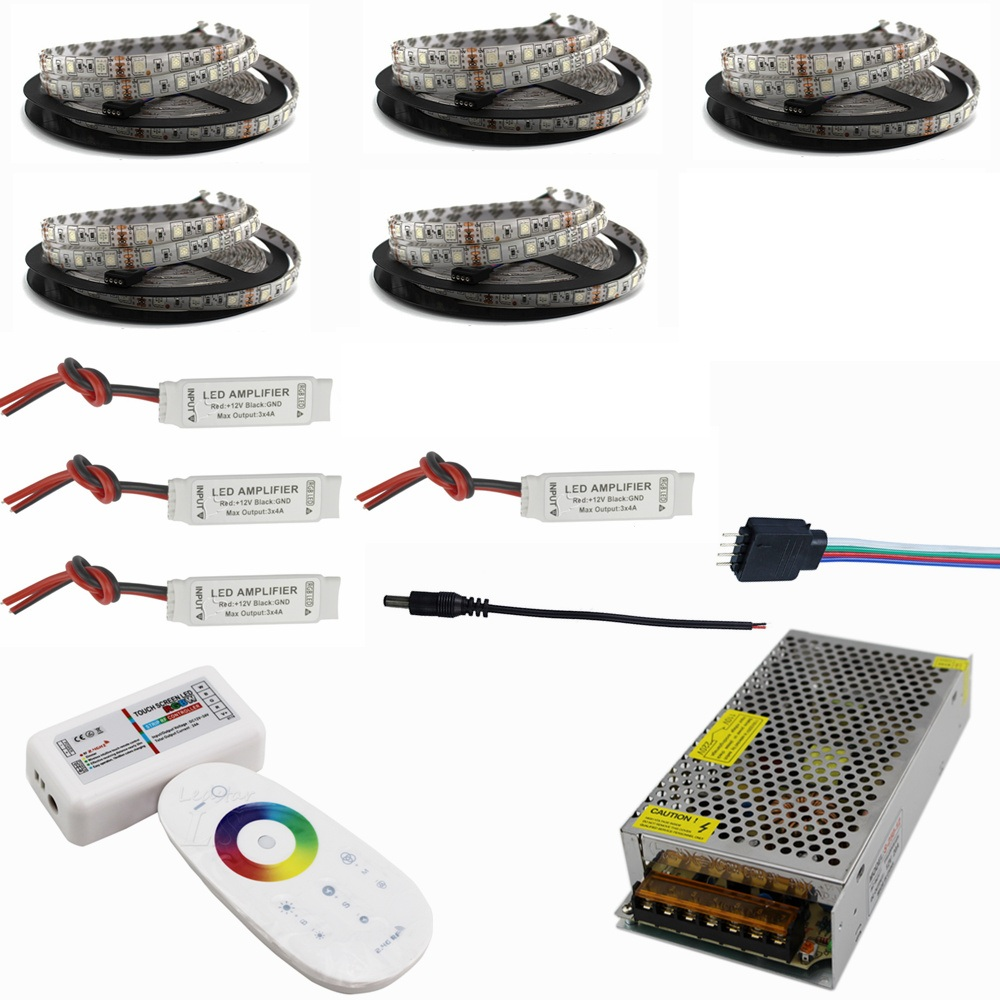 DC12V 5050 LED Strip Waterproof RGB RGBW Led Light Flexible Tape+Touch Remote Controller +12V Power adapter Kit 30M 20M 10M 5M 20m rgb led strip 5050 flexible led light 50leds m 4pcs 4 zone controller led remote control 12v 15a power supply kit