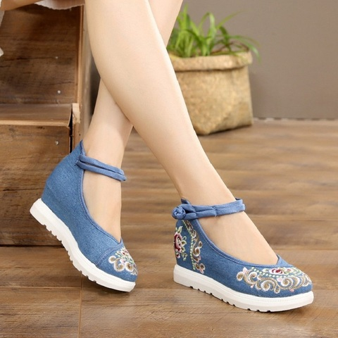 Women Canvas Increasing Height Ankle Strap Spring Autumn Shoes China Style Vintage Embroiders Wedges Heels Lady Shoes 20180907 Islamabad