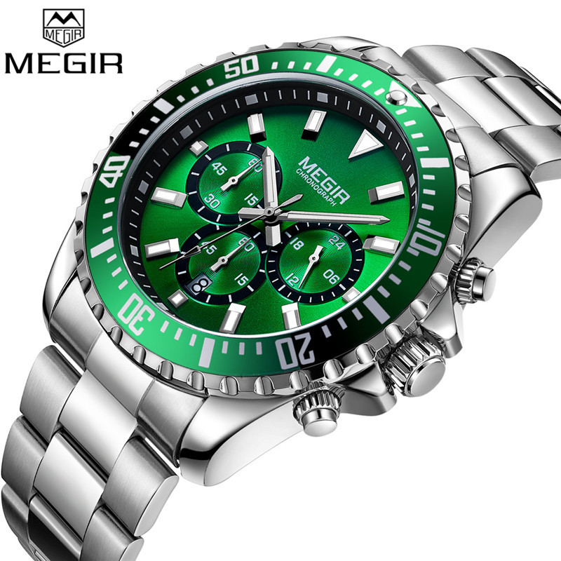 MEGIR Mens Watches Top Luxury Brand Chronograph Male Clock Military Army Sport Full Steel Green Dial Quartz Date Wristwatch 2064