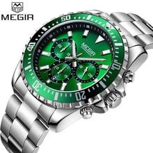 MEGIR Mens Watches Top Luxury Brand Chronograph Male Clock Military Army Sport Full Steel Green Dial Quartz Date Wristwatch 2064