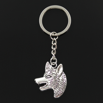 Fashion 30mm Key Ring Metal Key Chain Keychain Jewelry Antique Silver Color Plated Wolf Dog Wolfhound 35x30mm Pendant image