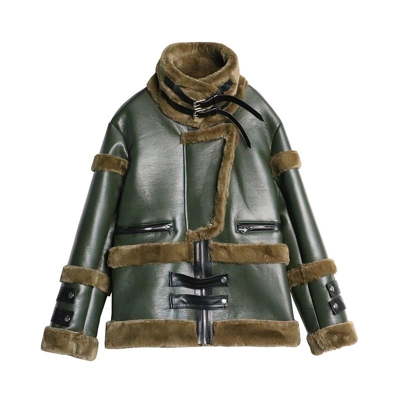 Hiver Vestes Manteau Coton En Imprimé Laine Vert rose Agneau Léopard Style Veste Nouveau 0wUxvzX8qa