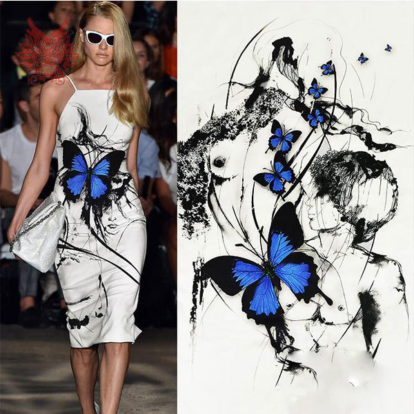 High grade luxury blue butterfly inkjet positioning printing pure silk fabric with spandex for spring/summer dress 19MM SP1138