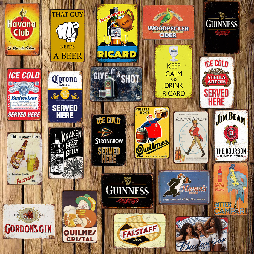 [ WellCraft ] Captain Guinness Beer Ricard Posters Metal Sign Wall Plate Pub bar Vintage Painting Personality Decor LT-1722(China)