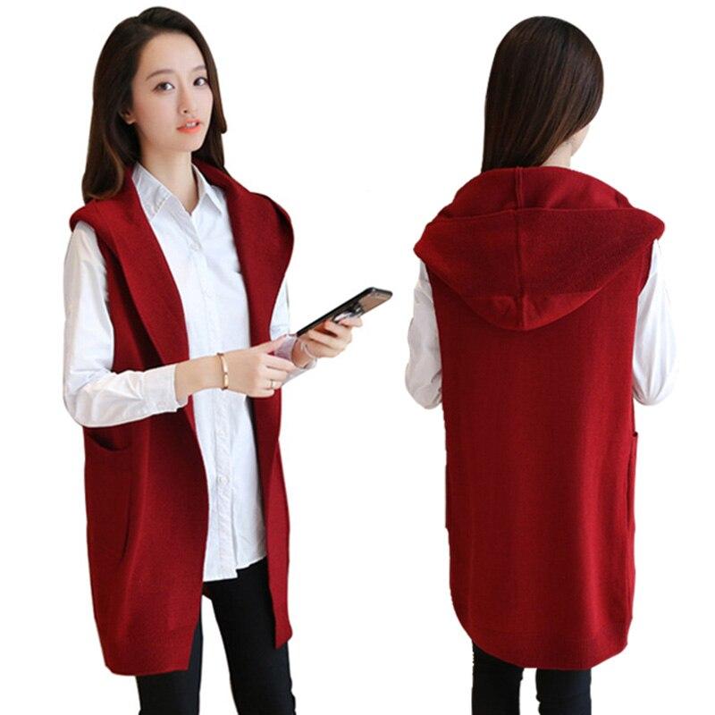 Suéter black Para Punto Rojo Mujeres Tamaño Wine Chaleco Chaqueta Casual Abrigo Con Las Capucha De Largo Coreano Red gray Mujer Gran Invierno Otoño qCa71